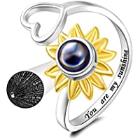 You are my sunflower ring 925 sterling silver I love you 100 language heart ring projection finger ring for women girls