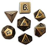 Set of 7 Polyhedral Metal Dice Dragons Gold Norse Foundry D&D Pathfinder