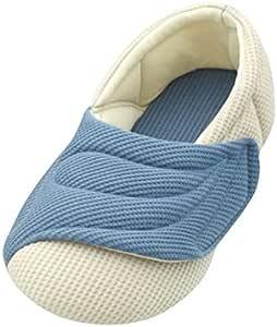 介護シューズ あゆみ ワイドベルトワッフル 室内用 ブルー Lサイズ(23.5~24.5cm) 足囲9E相当 両足