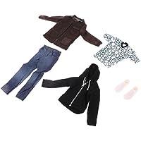 Dovewill セット 1/6スケールスーツ ジャケット ズボン Tシャツ メンズ カジュアルウェア 服装 12インチ男性フィギュアボディ対応