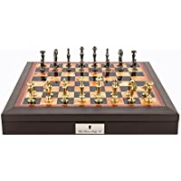 L4151DR Dal Rossi Italy Chess Set Brown PU Leather Beveled Edge with compartments 18