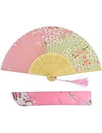 扇子 cnomg ハンドファン 花扇子 サテン生地 和装小物 ウェディング ダンス パーティー用 桜のパターン (ピンク)