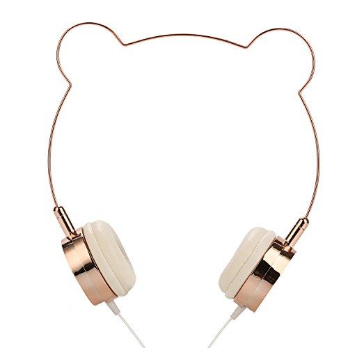 SOMOTORワイヤードヘッドフォン、耳のかわいいおしゃれなスタイルローズゴールド (熊)