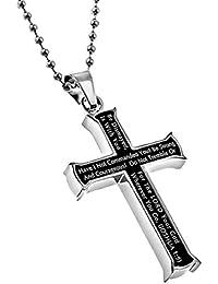 Strong & (勇気Joshua 1 : 9 ) Iron Crossブラック&シルバー太字ネックレス、24