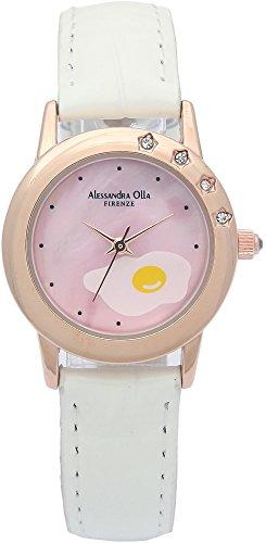 [アレサンドラオーラ]Alessandra Olla 腕時計 ラウンドフェイス レザーベルト 目玉焼き 天然シェル文字盤 ホワイト AO-810E WH レディース