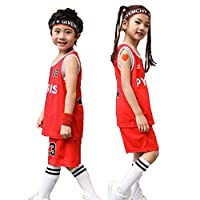 ZUOMA子供服 団体服 バスケットボールウエア ユニフォーム 上下2点セット 団体服 演出服 訓練着 キッズ 小学生 男の子 女の子 プレゼント 夏 トレッキングウエア (PYRIS赤,XL)