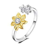 ACJNA 925 Sterling Silver Sunflower Ring BEE You are My Sunshine CZ Adjustable Rings Jewelry Gift for Women Girls