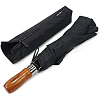 Folding Golf Size Large Travel Umbrella-54 Inches Vented Windproof Double Canopy& Wood Handle-Auto Open/Close Umbrella for Men Women(Black)