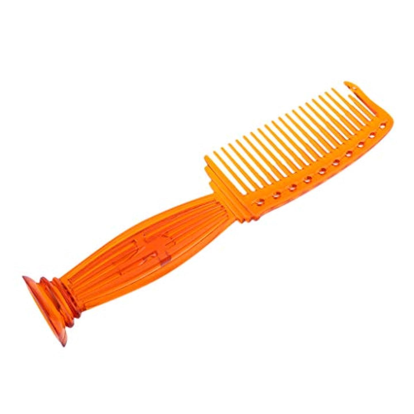 口径ラグきらめくヘアコーム ヘアブラシ プラスチック櫛 ワイド歯 プロ ヘアサロン 理髪師 全5色選べ - オレンジ