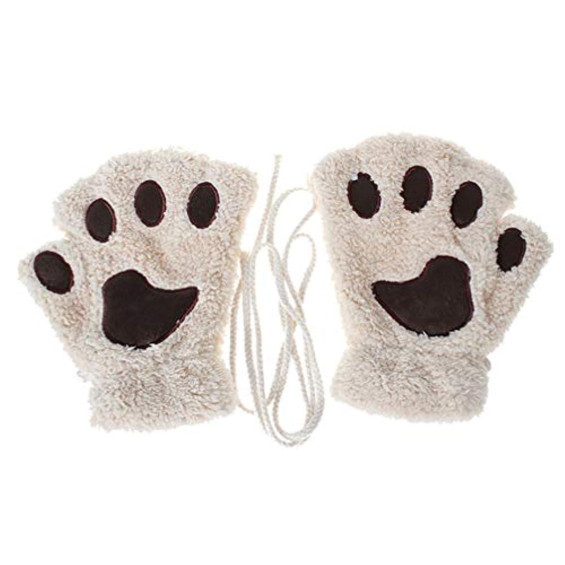 ラボシネウィ皿Toporchid 冬の厚く暖かいハーフフィンガーグローブかわいい女性のぬいぐるみ子猫の爪手袋