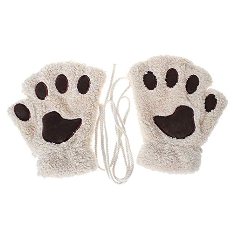 ターミナルギャロップ幸運なことにToporchid 冬の厚く暖かいハーフフィンガーグローブかわいい女性のぬいぐるみ子猫の爪手袋