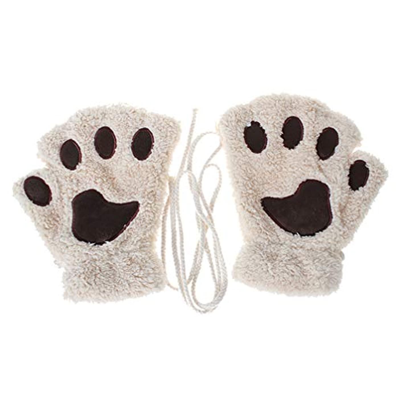 小人ペルー抜粋Toporchid 冬の厚く暖かいハーフフィンガーグローブかわいい女性のぬいぐるみ子猫の爪手袋