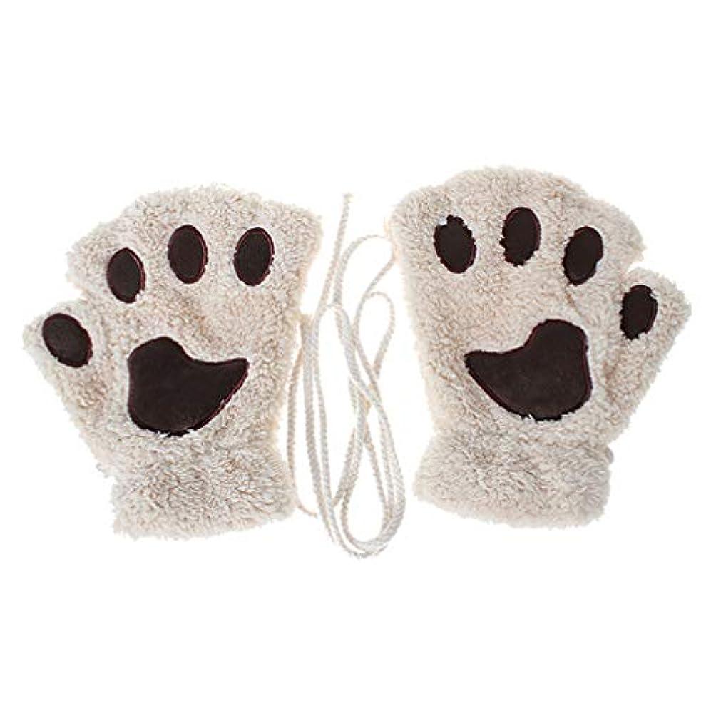 北極圏選挙永久Toporchid 冬の厚く暖かいハーフフィンガーグローブかわいい女性のぬいぐるみ子猫の爪手袋