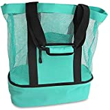 Mesh Beach Bag Tote with Insulated Picnic Cooler and Top Zipper Large Durable Mesh Tote Bag Green 1pc