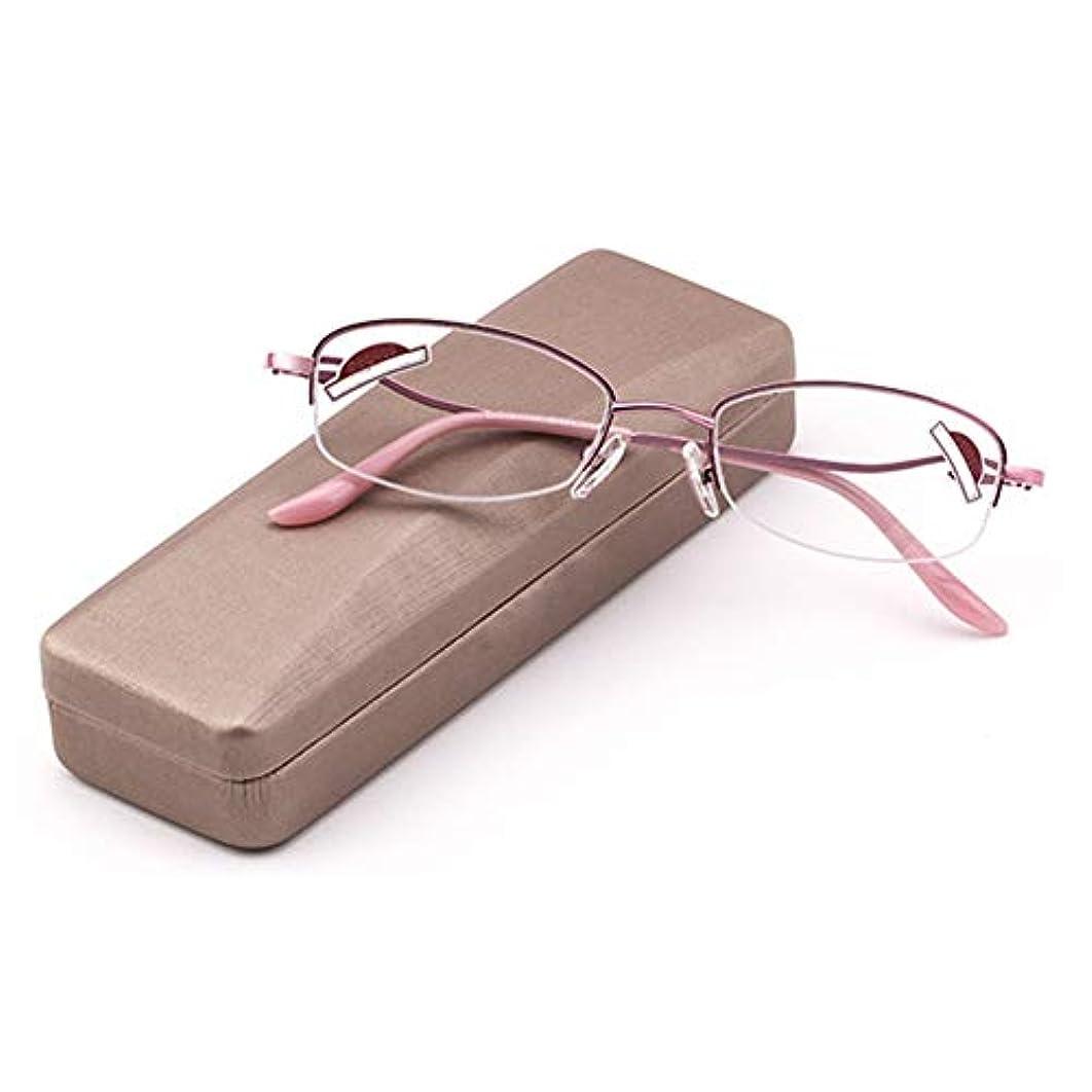 葉を拾う信頼性のある注入女性用老眼鏡 ケース付き アンチブルーライト 超軽量 ファッション レディメガネ アンチUv ハーフフレーム 楕円形 透明レンズ 1.0?3.0の強さ にとって 読み物 コンピューター 携帯電話 ピンク