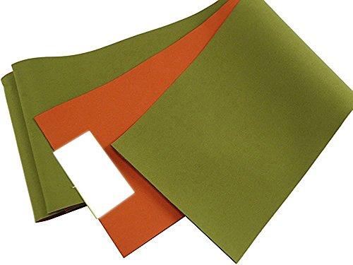 リバーシブル 浴衣帯 単衣 半幅帯 (グリーン/オレンジ(E))