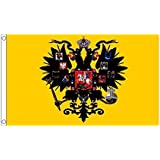 国旗 ロシア 帝国 国章 帝政 ロシア 60cmx90cm 大フラッグ【ノーブランド品】