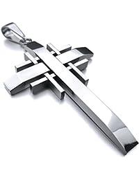 [テメゴ ジュエリー]TEMEGO Jewelry メンズポリッシュステンレススチールヴィンテージペンダントゴシッククロスネックレス、シルバー[インポート]