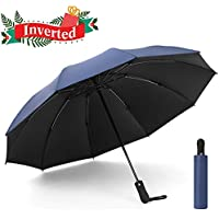 UOWGA Inverted Rain Umbrella, 10 Ribs Auto Open and Close Reverse Travel Windproof Umbrella with UV Protection for Men/Women