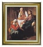 フェルメール マルタとマリアの家でのキリスト F10 油絵直筆仕上げ 絵画10号 ゴールド
