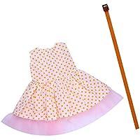 ノーブランド品 スカート ドレス ベルト セット  18インチアメリカンガールドール用 服 3色選べる - 黄