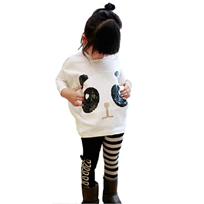 子供服 女の子 ベビー服 トップスとロングパンツ 二点セット 1-6歳 長袖 パンダ ボーダー 春秋 (110)