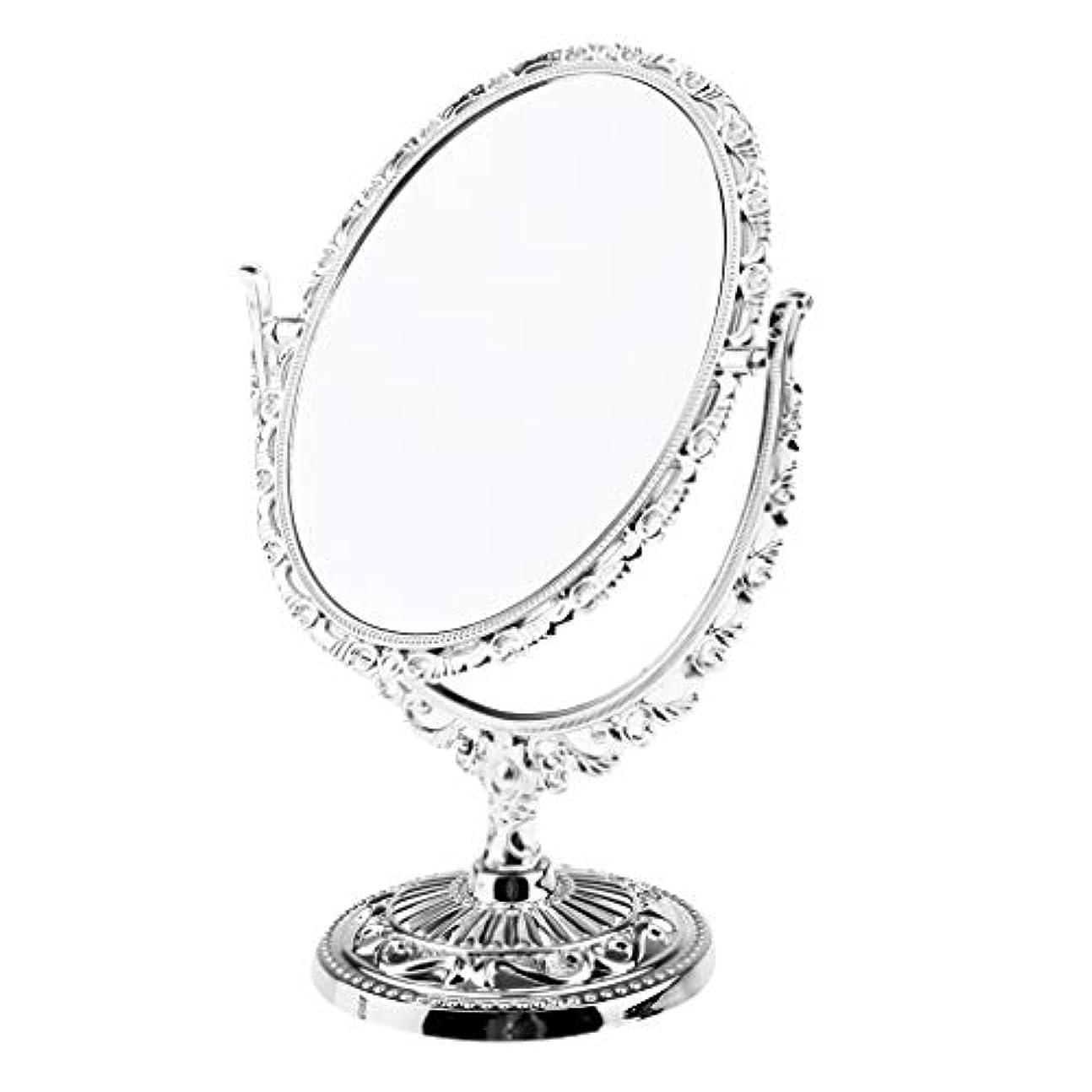 酸化物輝く狐ミラー 卓上ミラー 360度回転 メイクアップミラー 拡大しない スタンドミラー 化粧鏡 全2種類 - オーバル
