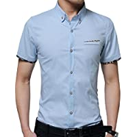 GodeyesW Mens Over Sized Solid Summer Non-Iron Short Sleeves Easy Dress Shirts