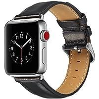 Apple Watch 42mm レザー バンド 本革 ベルト ブラック/黒 シンプル 簡単交換