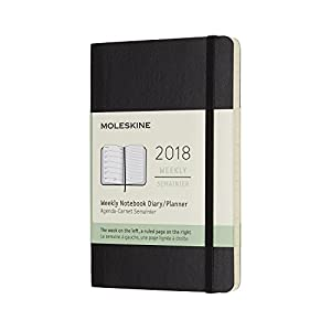 Moleskine 12 Month Weekly Planner, Pocket, Black, Soft Cover (3.5 x 5.5)