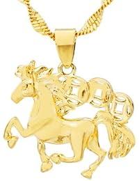 馬ペンダント 銅金属24Kイエローゴールドメッキ 2.2x2cm