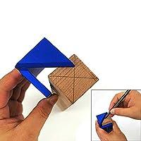 木工センターゲージ センタースコヤ 45°スコヤ 45度定規 直角スコヤ 直角定規 マーキングガイド 大工ケガキ工具ー ブルー