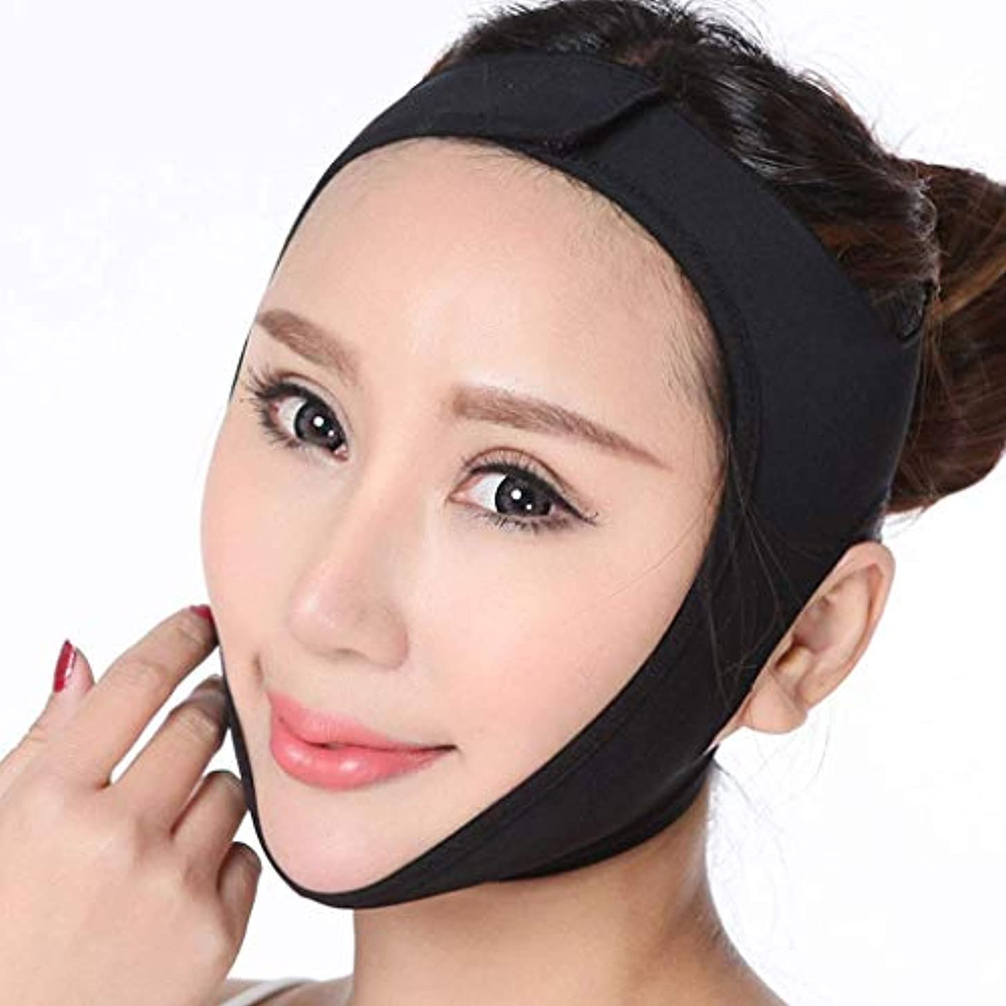 医療のコンソールエンドウHUYYA 女性の顔を持ち上げるベルト、Vライン頬 しわ防止包帯 二重あごの減量顔,Black_Small