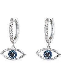 18k Gold Plated CZ Evil Eye/Heart/Moon/Star/Key/Lightning/Snowflake/butterfly Drop Dangle Earrings Hoop Crystal for Women Girl Wedding Asymmetric Jewelry