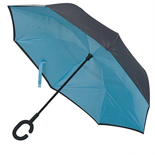 Hosam 折り畳み傘 逆折り式傘 C型持ち手 レディース メンズ 梅雨対策 耐強風 遮熱 晴雨兼用 (B)