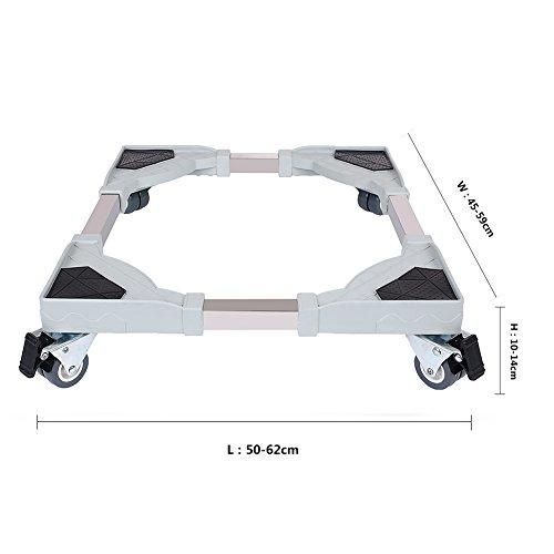 洗濯 台 キャスター付き 伸縮式 高さ調節可能 ドラム式 全自動式対応8輪 移動台 防振 騒音対策 減音効果 ステンレス鋼 幅:45 cm - 62 cm 耐荷重:250 kg