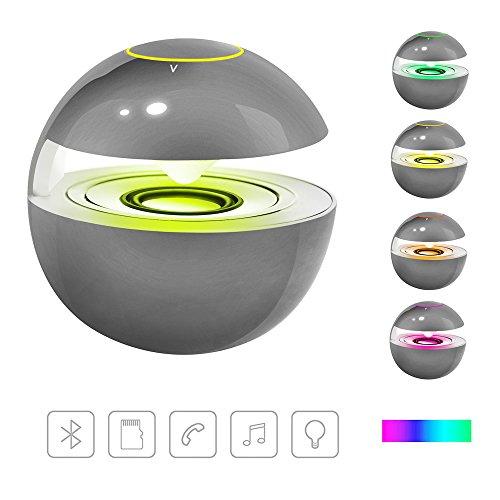 mini Bluetoothスピーカー【LEDライト付き/マイク内蔵/贈り物に最適】ワイヤレス小型スピーカー(グレー)