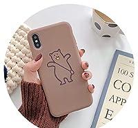 かわいいケースiPhone使用可かわいいクマ8plusx携帯電話ケースXSマックス/XR/for iPhoneX/7p/6for iPhone6sシリコーン,for iPhoneXRミルクティーカラー