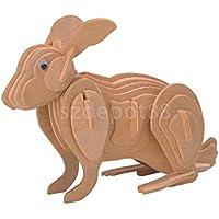 Woodcraft Constructionパズル3dパズル木製パズルDIY Rabbit Kidギフト