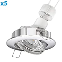 Parlat LED埋め込み天井スポットライトCIRCクロームマット旋回GU10 6,8 W 420 lmウォームホワイト、5個
