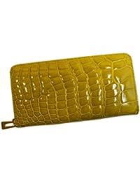 クロコダイル 財布 メンズ レディース シャイニング クロコダイル 長財布 ラウンドファスナー ヘンローン社製 ゴールド金具 キャメル