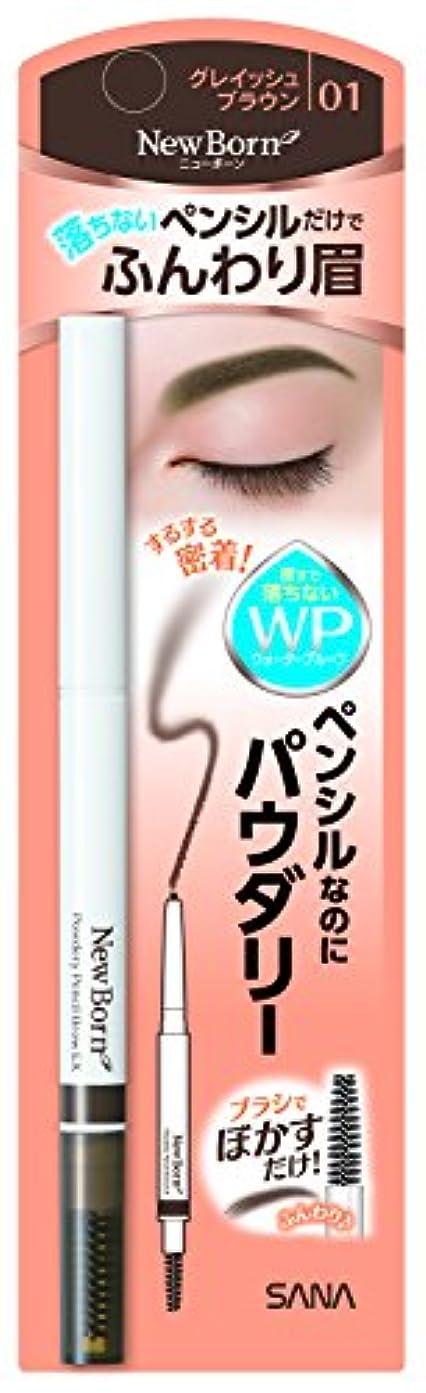 固める平野薄汚いニューボーン パウダリーペンシルブロウEX 01 グレイッシュブラウン ウォータ-プルーフ