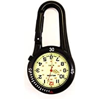 Black Clip on Carabiner FOB Watch Luminous Face Ideal for Doctors Nurses Paramedics