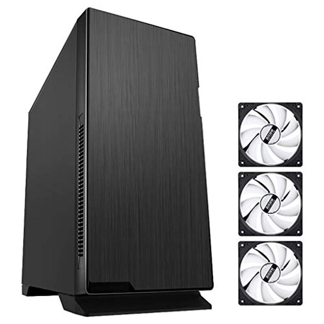 戻すトラフ貫入XZ15 ミッドタワーPCゲーミングコンピューターケース、ATX、M-ATX、ITX、3x120mmサイレントファン、ゲーマー高性能シャーシ、ブラック (Color : Black)