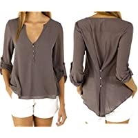 Ausexy Womens Chiffon Casual Basic Blouse Loose Button V Neck Elegant Long Sleeve Shirt Tops Fashion Design Blouse Plus Size T-shirt Autumn Spring