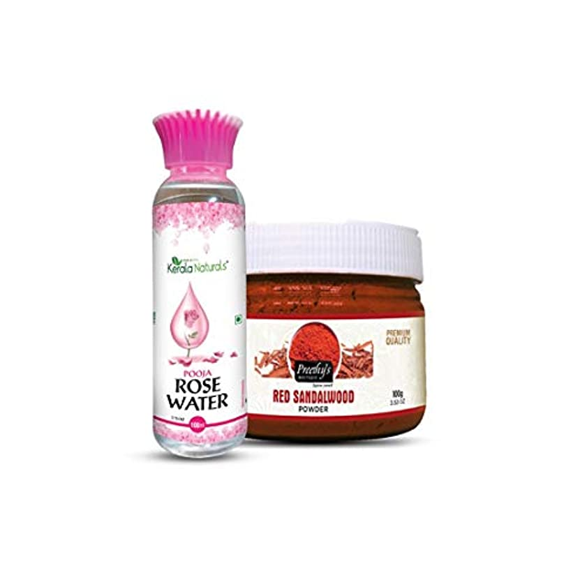 Combo of Red sandalwood powder 100gm+ Rose water 100ml - Enhancing the beauty of the Skin - 赤白檀パウダー100gm +ローズウォーター...