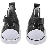 Dovewill  全9色 キャンバス製 1/6スケール 靴 フラットシューズ  カジュアル 飾り BJD SD BB人形用 - ブラック