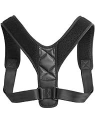 大人の学生調節可能な背中の姿勢補正ブレースショルダーサポートバンドベルトの姿勢正しいベルト防止ハンチバック - ブラック