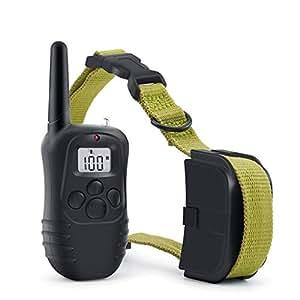 犬の訓練襟ショック 犬のショックトレーニングカラー、リモート充電式および防水、300Mリモート振動犬用電動カラー (Color : Green)