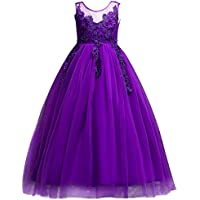 Flower Girls Applique Princess Tulle Lace Birthday Dress Wedding Communion Prom Ball Evening Gowns